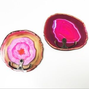 Set of 2 Pink Faux Agate Geode Boho Wall Hooks NEW
